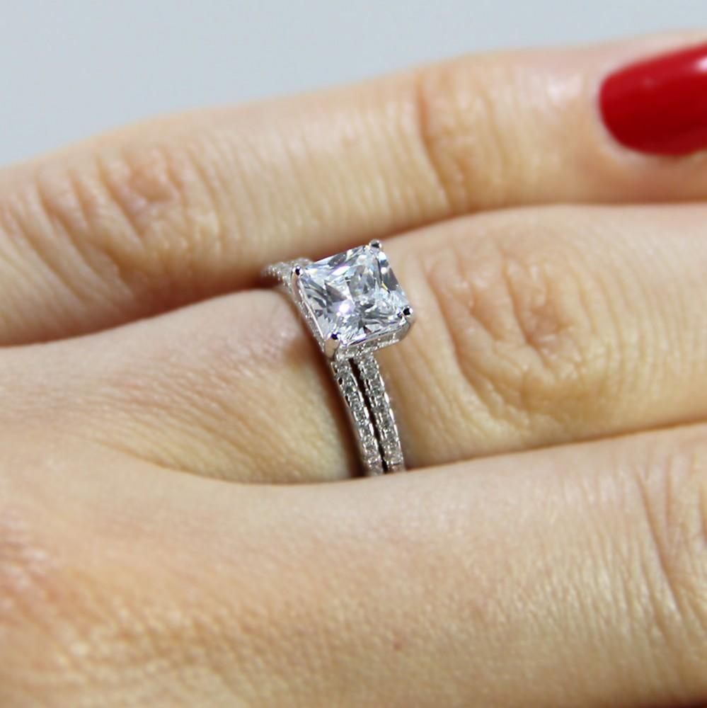 Sterling Silver Princess Cut Wedding Ring Set Sbgr01011