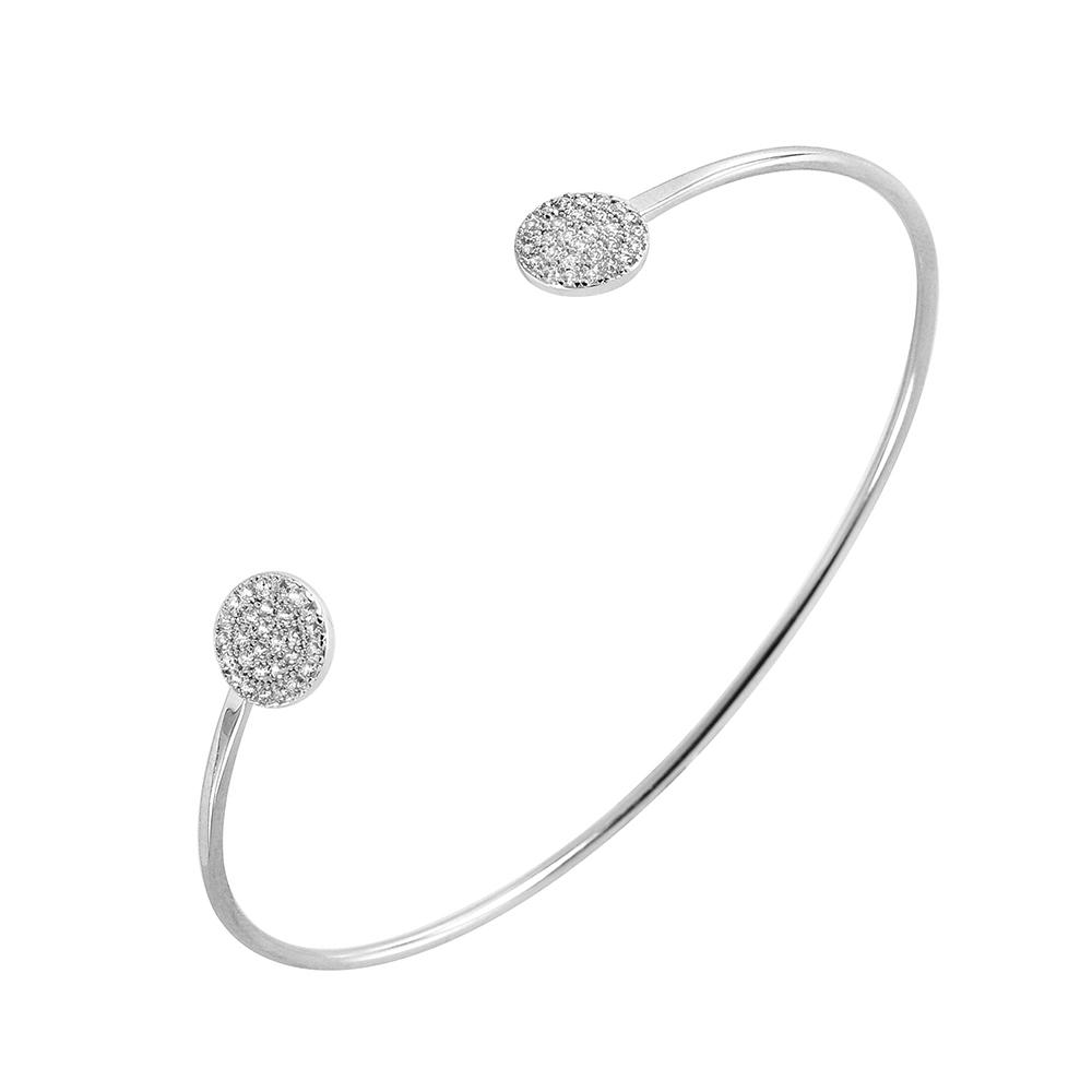 Sterling Silver Circle Cuff Bracelet SBGB00236