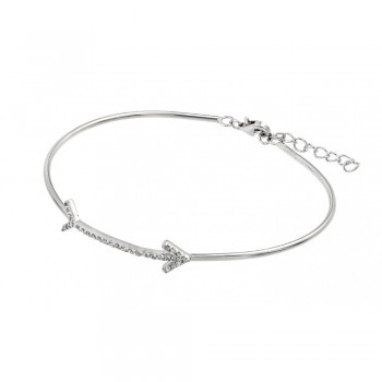 Sterling Silver Clear CZ Arrow Bangle Bracelet SBGB00206