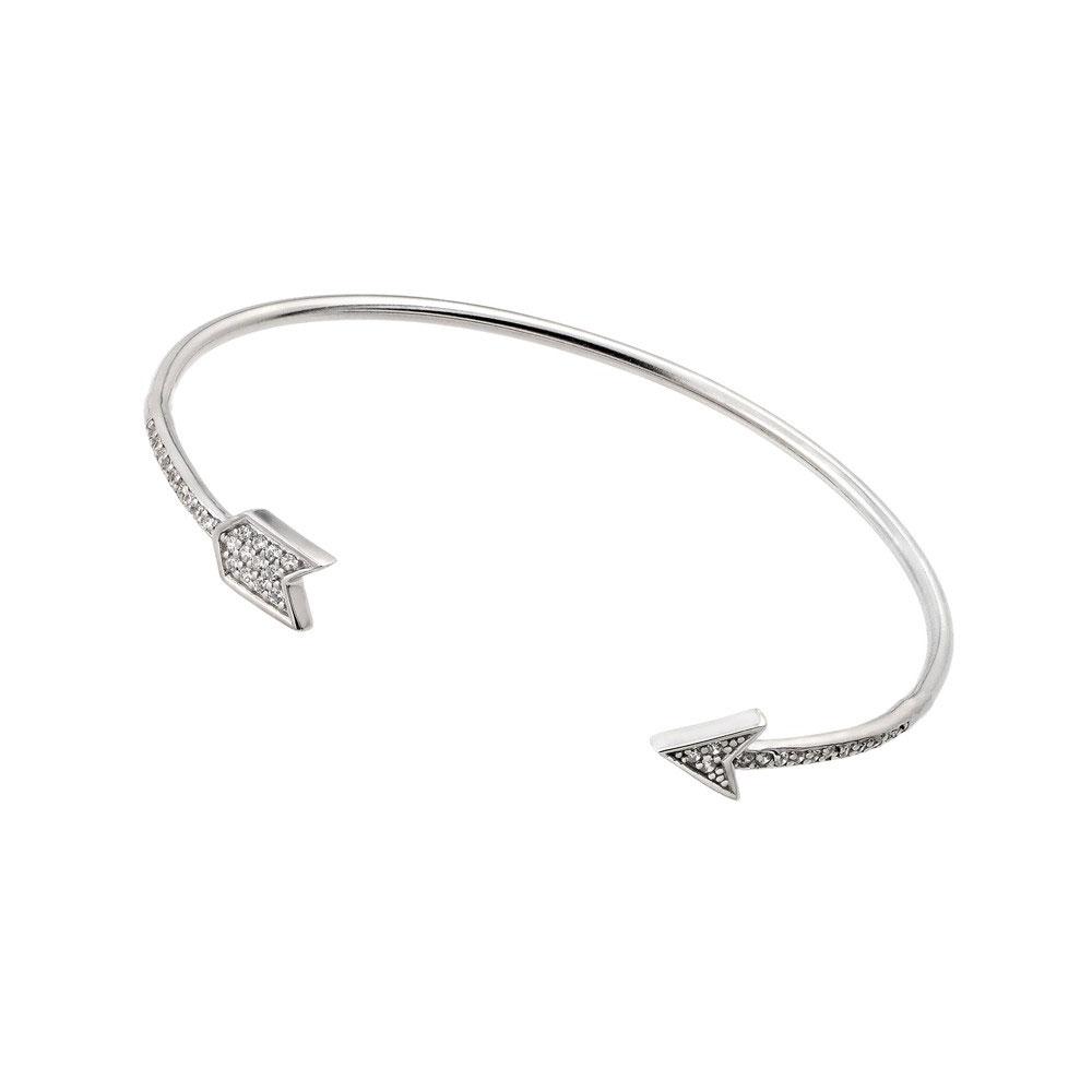 Sterling Silver Clear Cz Arrow Cuff Bracelet Sstb00510