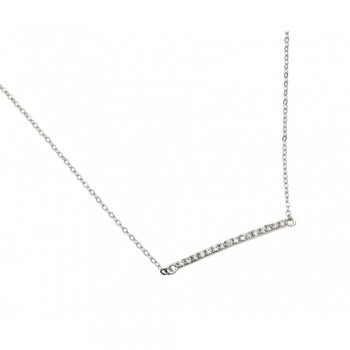 Sterling Silver Clear CZ Bar Necklace SSTP01394