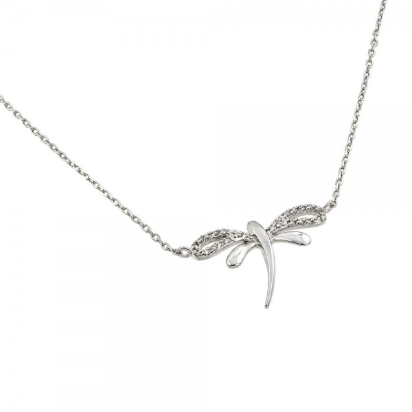 Sterling Silver Clear CZ Dragonfly Pendant Necklace SBGP00845