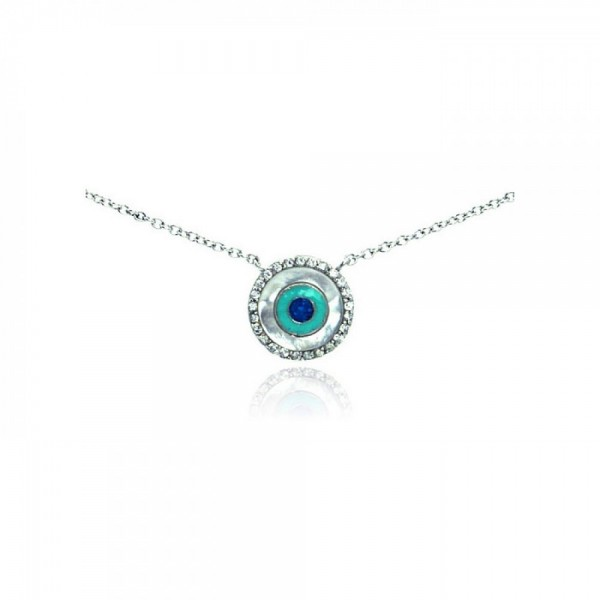 Sterling Silver Clear CZ Evil Eye Pendant Necklace SSTP01060