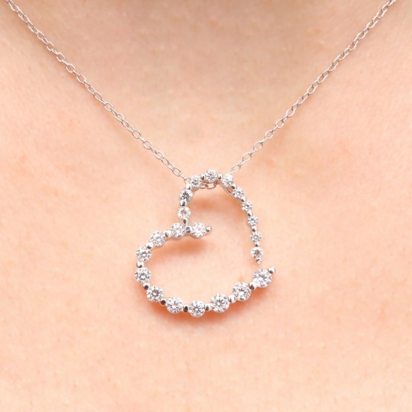 Sterling Silver Rhodium Plated Clear CZ Heart Pendant Necklace SSTP00665