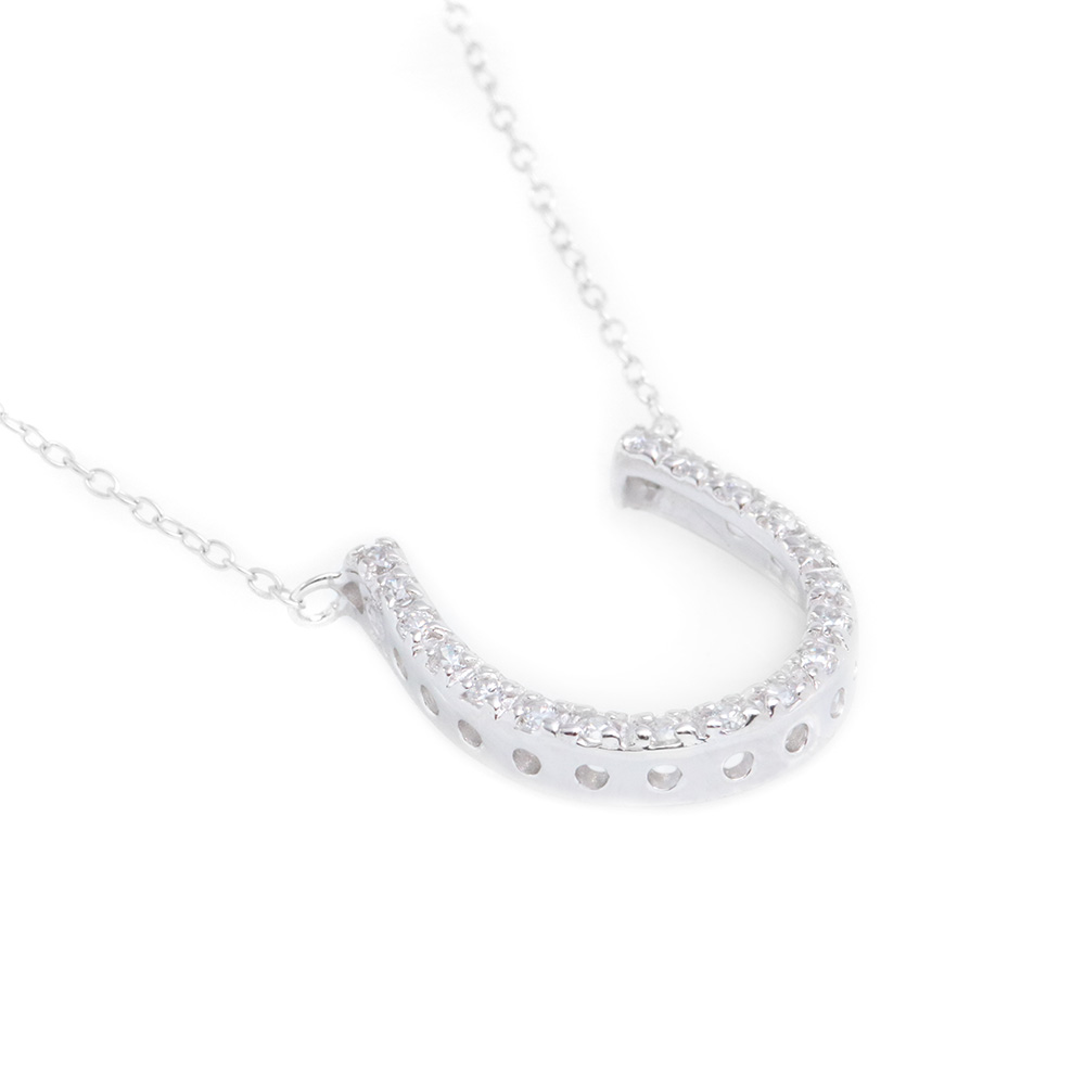 Sterling Silver Rhodium Plated Clear CZ Horseshoe Pendant Necklace SSTP00027