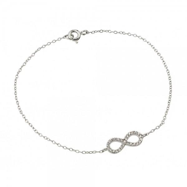 Sterling Silver Clear CZ Infinity Bracelet SSTB00495RHD
