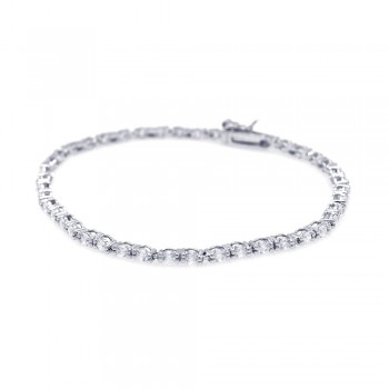 Sterling Silver Clear CZ Round Tennis Bracelet SSTB00424