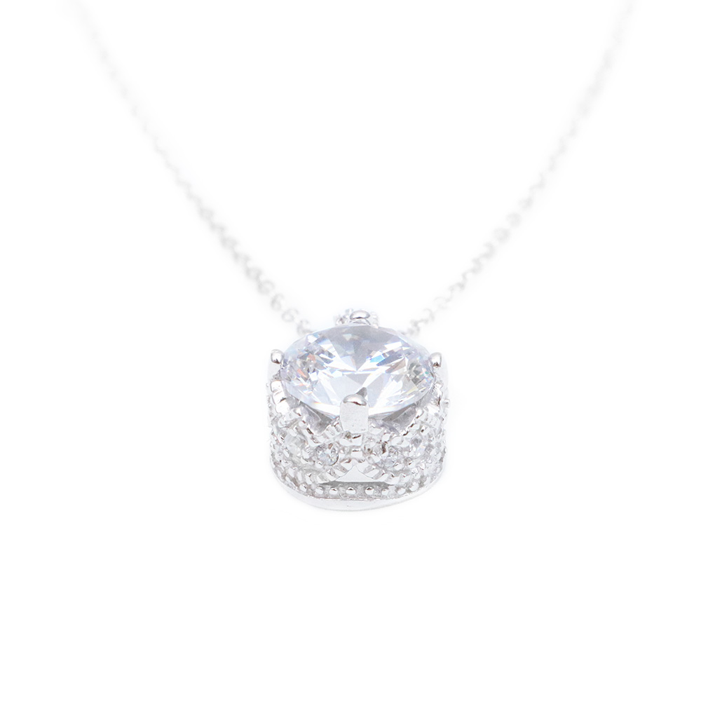 Sterling Silver Rhodium Plated Simple Round CZ Pendant Necklace SSTP00853