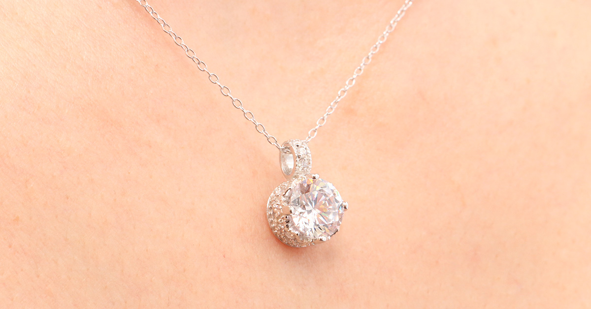 Sterling Silver Simple Round Cz Pendant Necklace Sstp00853