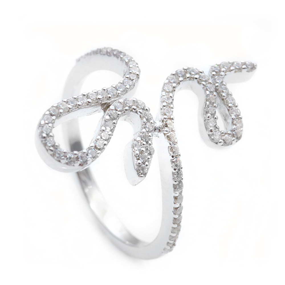 Sterling Silver Clear CZ Snake Ring SSTR00966