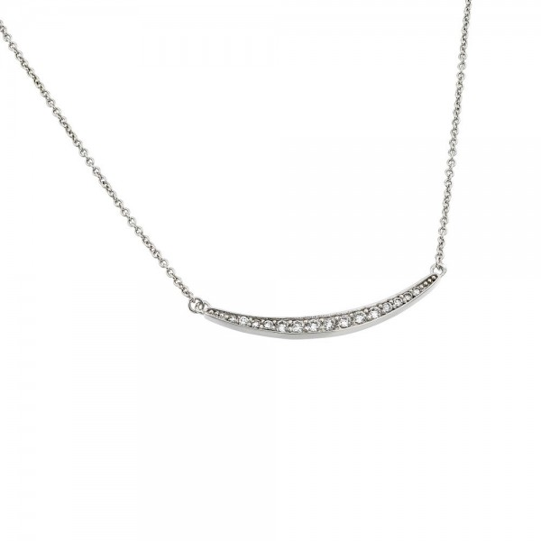 Sterling Silver Clear CZ Curved Bar Pendant Necklace SBGP00868