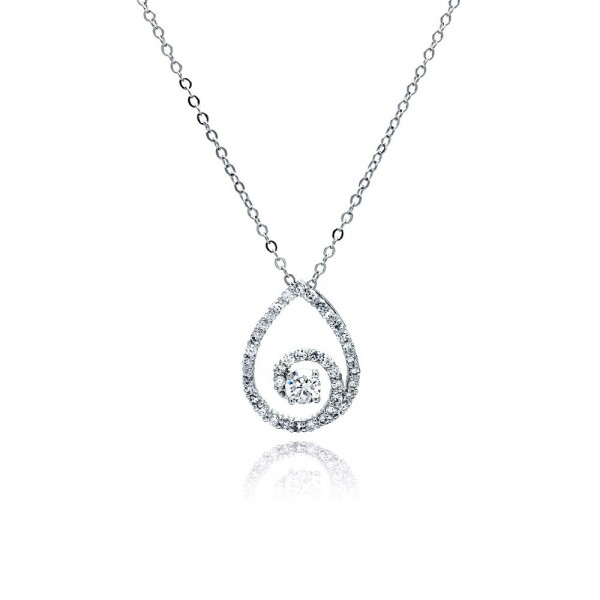 Sterling Silver Clear CZ Swirl Teardrop Pendant Necklace SBBP00030