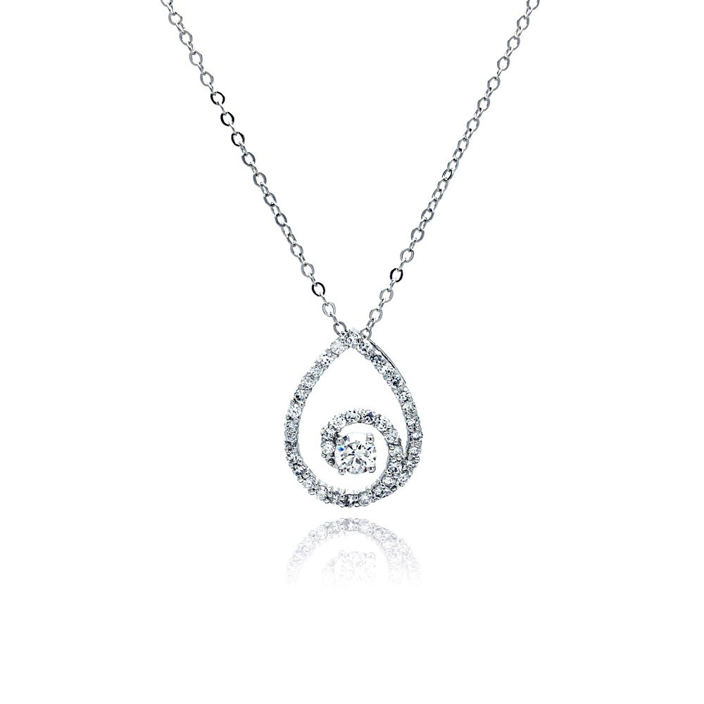 Sterling silver clear cz swirl teardrop pendant necklace sbbp00030 mozeypictures Image collections