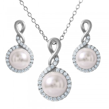 Sterling Silver White Pearl CZ Earring and Necklace Set SBGS00459