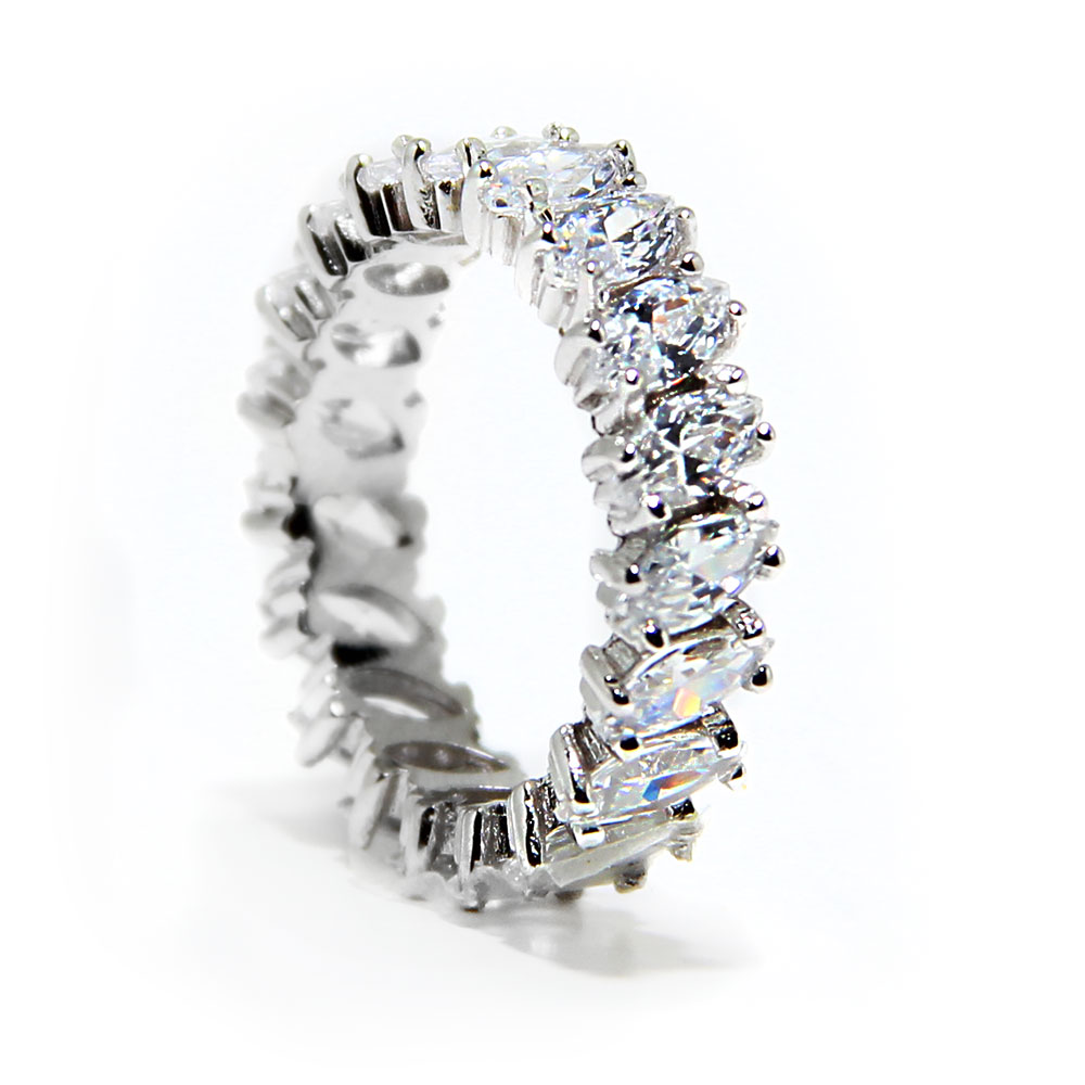 Sterling Silver Clear CZ Marquise Eternity Band SBGR00096