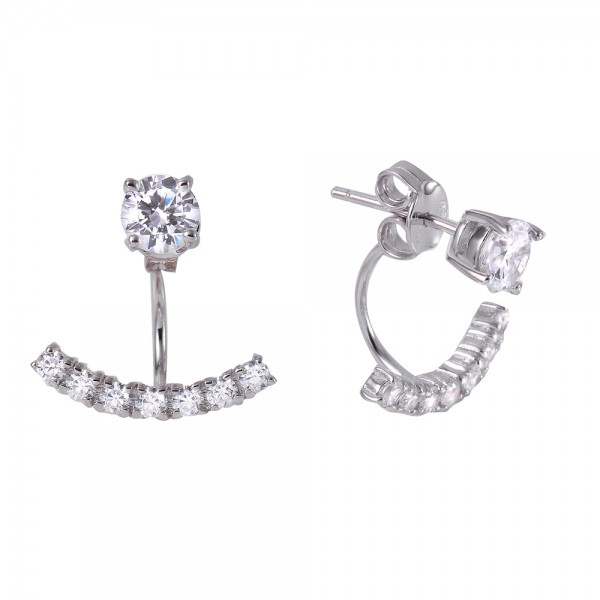 Sterling Silver CZ Curved Earring Jackets SBGE00440