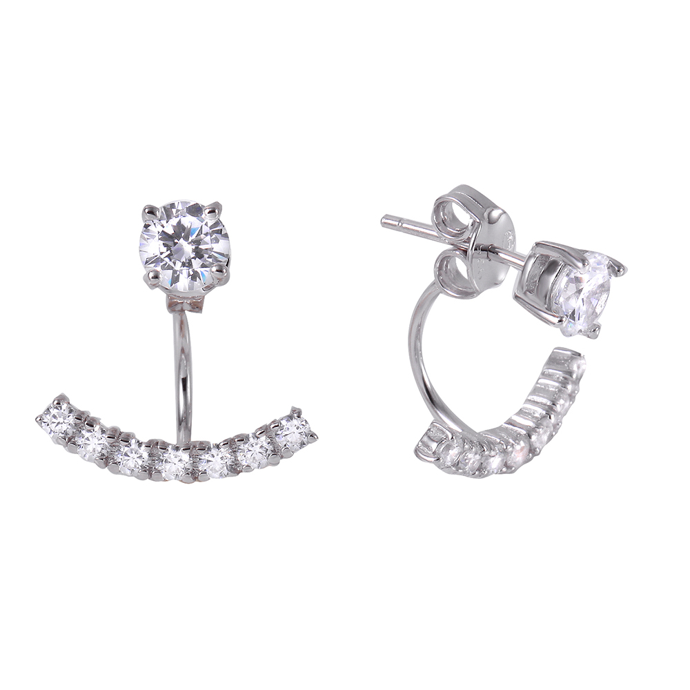 silver cz curved earring jackets sbge00440