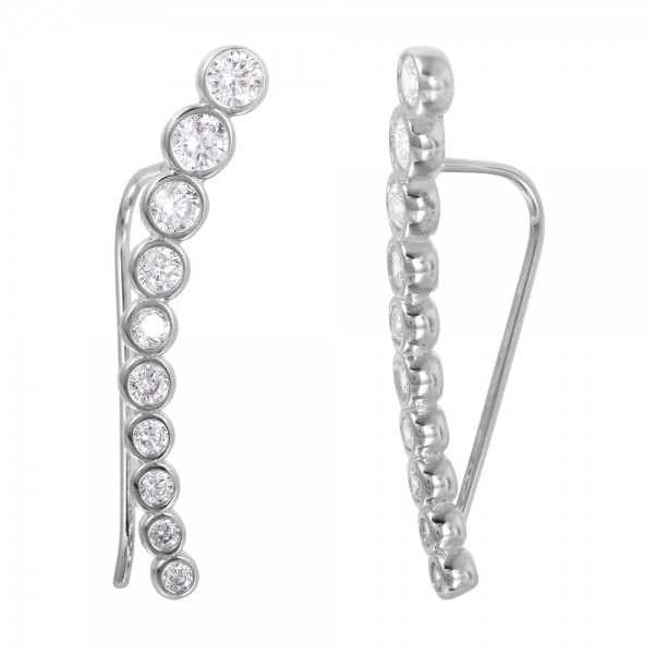 Sterling Silver Round CZ Ear Climber Earrings SGME00008RH