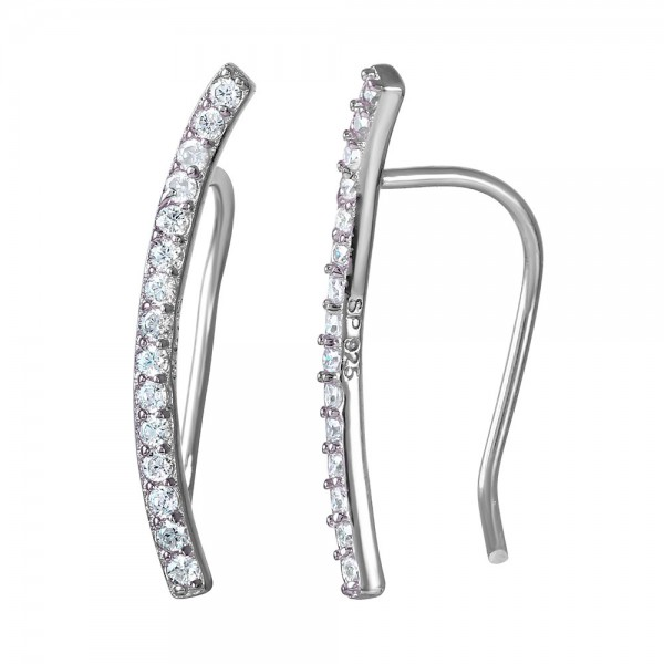 Sterling Silver CZ Encrusted Bar Ear Climber Earrings - SSTE01036