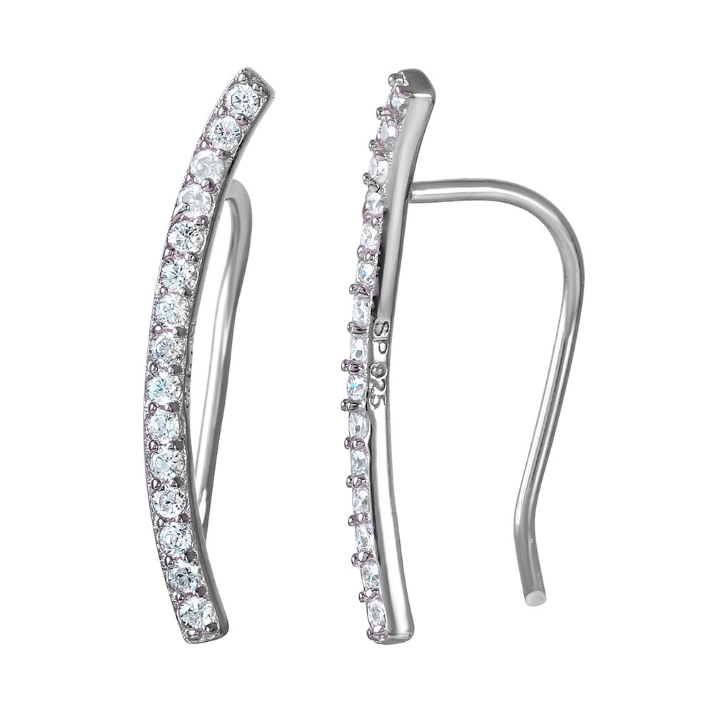 e7f2c1f66 Sterling Silver CZ Encrusted Bar Ear Climber Earrings - SSTE01036