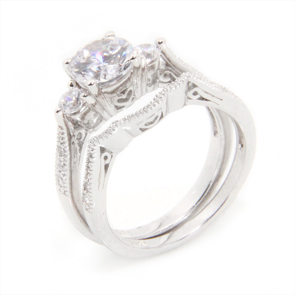 Sterling Silver CZ Engagement Ring Set SACR00027