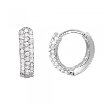 Sterling Silver CZ Hoop Earrings SGME00027RH