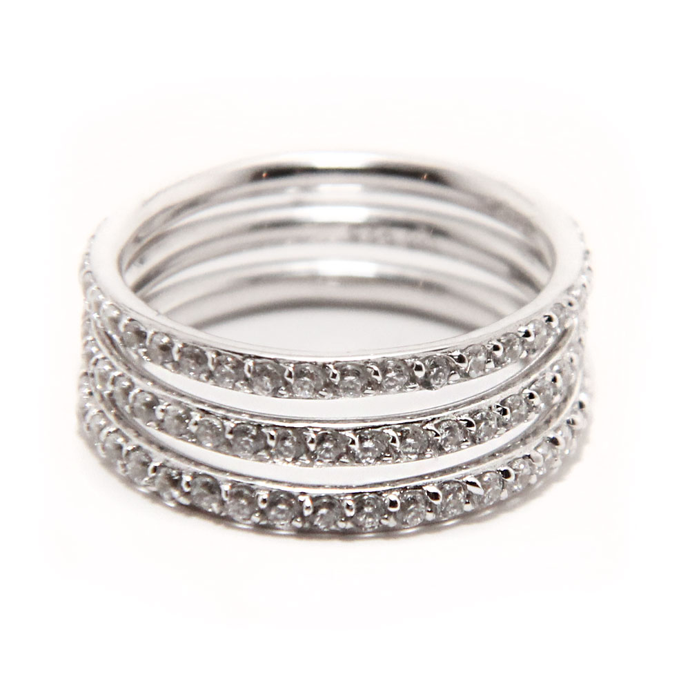 Sterling silver cz stackable ring set sstr00513 for The sterling