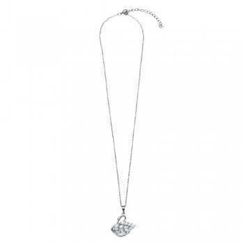 Sterling Silver CZ Swan Necklace SBGP01166
