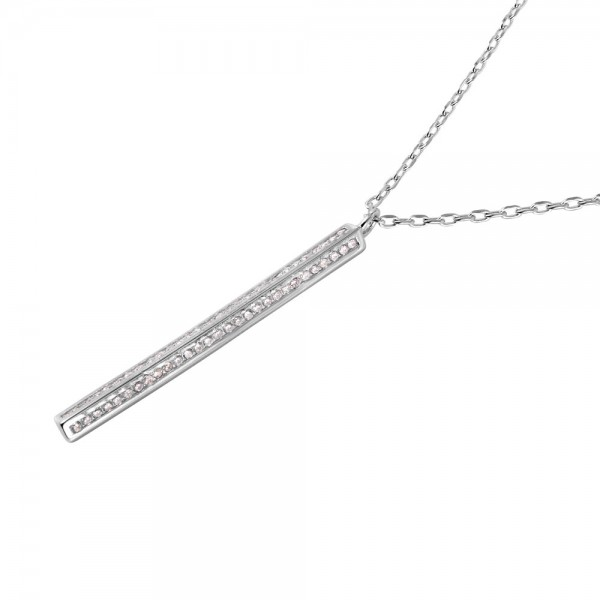 Sterling Silver CZ Vertical Bar Necklace SSTP01487RH
