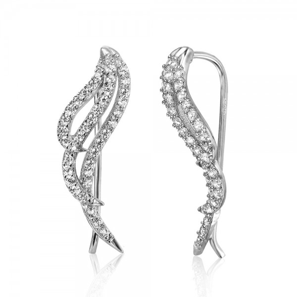 Sterling Silver CZ Wing Ear Climber Earrings SGME00039RH
