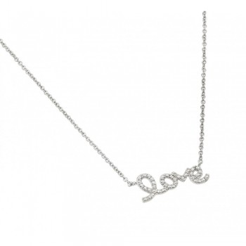 Sterling Silver Diamond Love Pendant Necklace SSTP01471