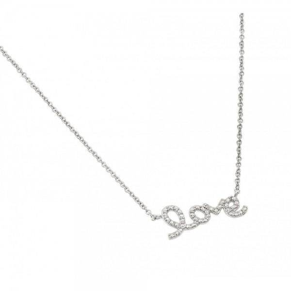 Sterling Silver Diamond Love Pendant Necklace SSTP01471