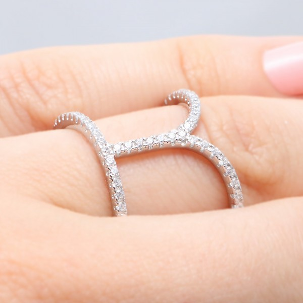 Sterling Silver Open Dip Bar Ring SBGR00972