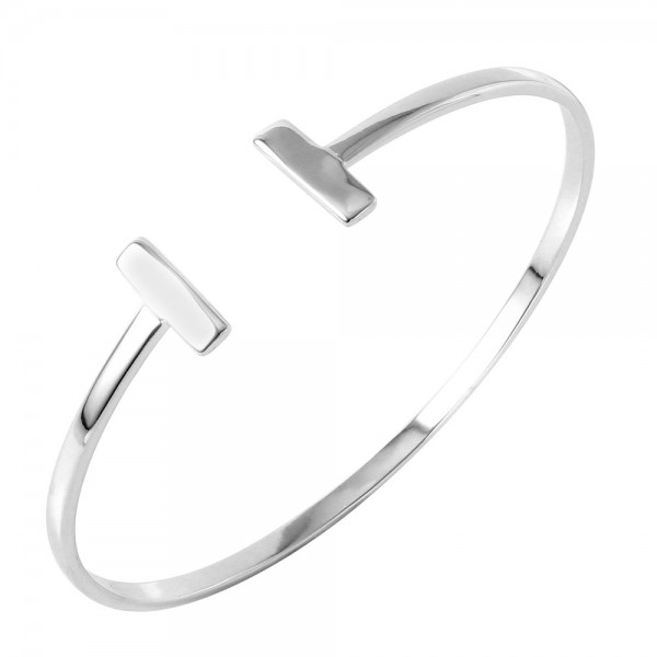 Sterling Silver Double Bar Cuff Bracelet SBGB00249