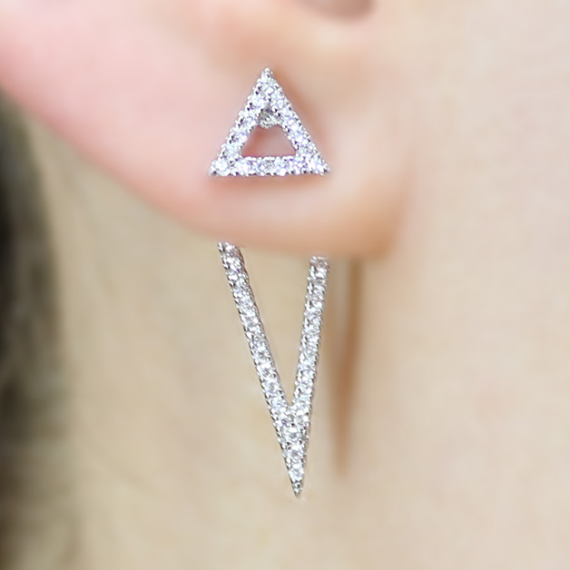 Sterling Silver Double Open Triangle Earrings SBGE00485