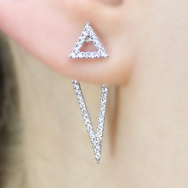 sterling silver open triangle earrings sbge00485