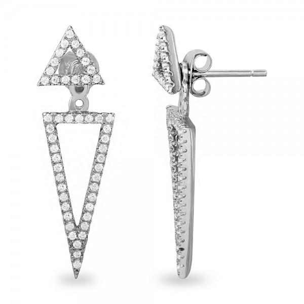 Sterling Silver Double Open Triangle Earrings SBGE00485