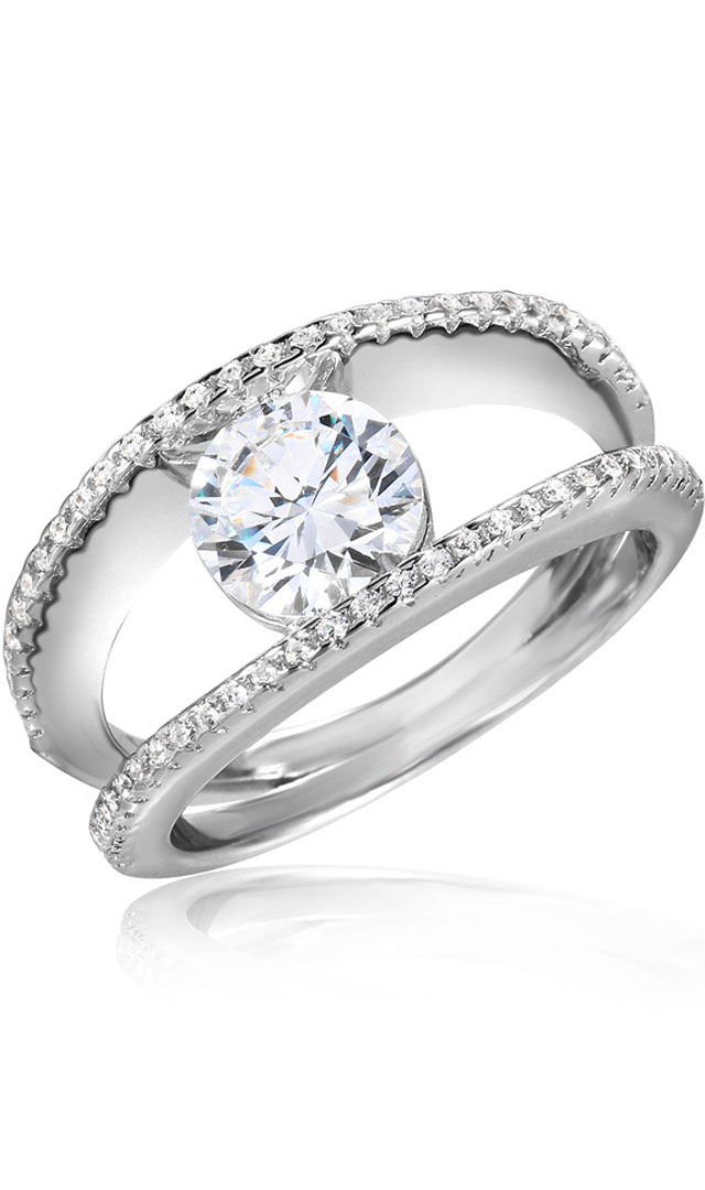 Sterling Silver Double Row CZ Ring SSTR01046