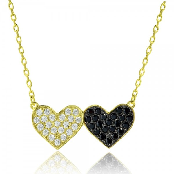 Sterling Silver Gold Black Doubt Heart Necklace SBGP01179
