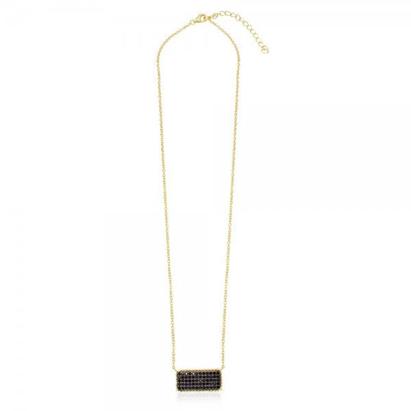 Sterling Silver Gold & Black Rectangle Bar Necklace SBGP01163