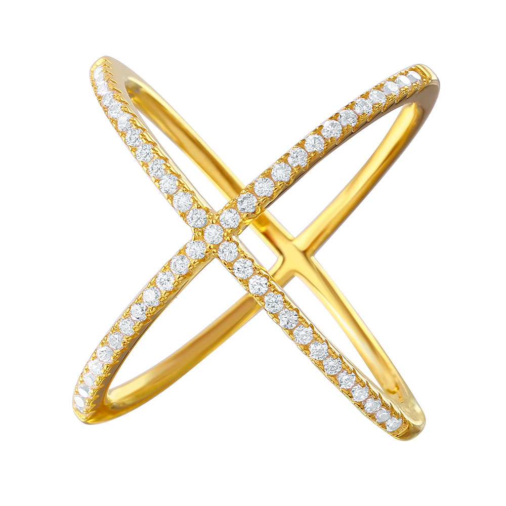 Sterling Silver Gold Criss Cross Ring SGMR00039GP