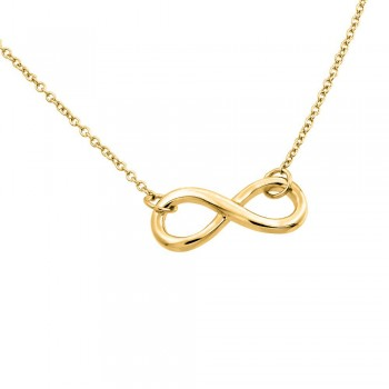 Sterling Silver Gold Infinity Pendant Necklace SSTP01373GP
