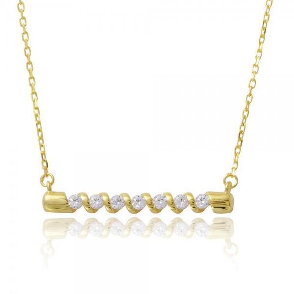 Sterling Silver Gold Plated Twisted Bar Necklace SBGP01180