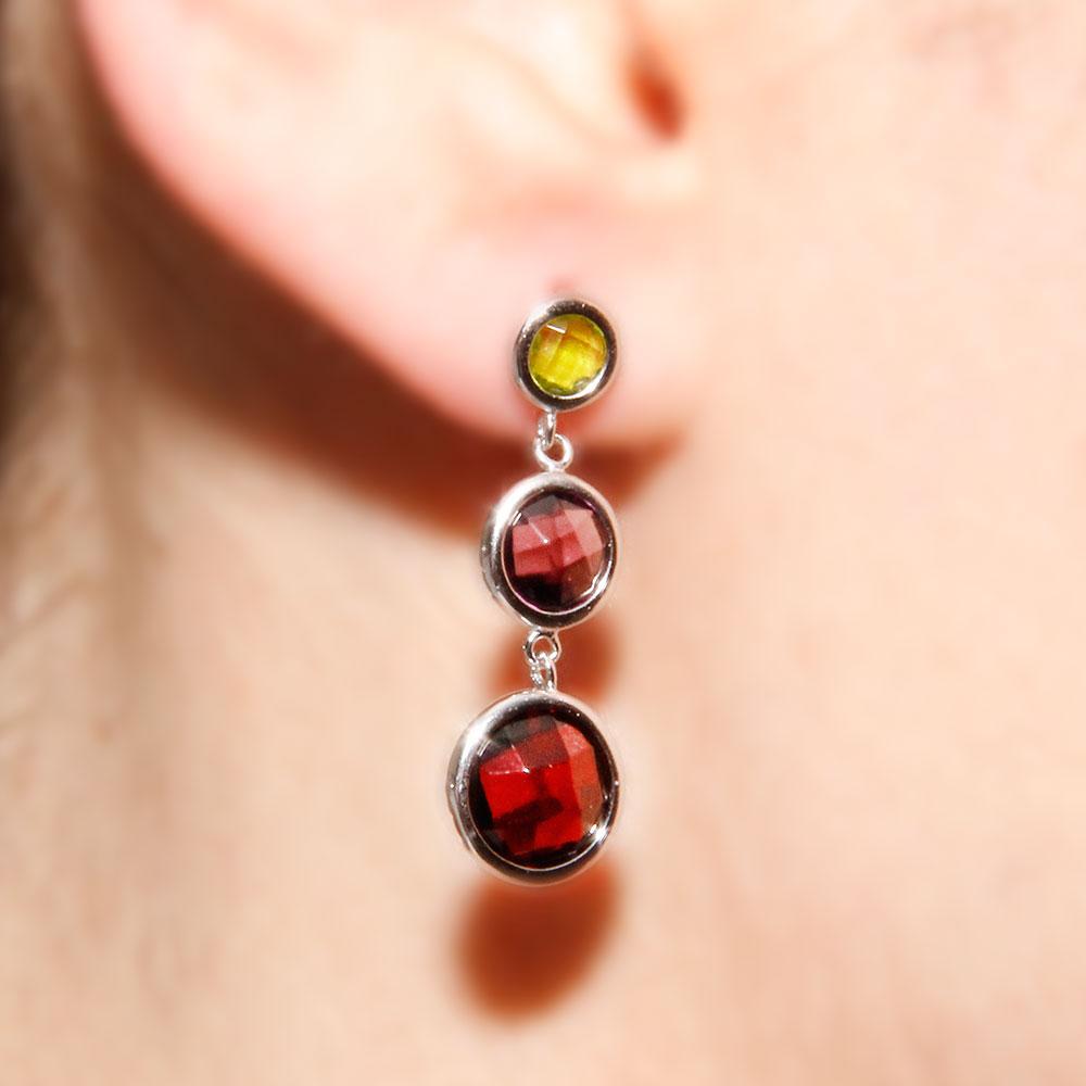 Sterling Silver Graduated Multi Color Drop Earrings SSTE00938