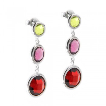 Sterling Silver Graduated Multi Color Drop Earrings SSTE00938