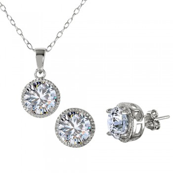 Sterling Silver Round Halo CZ Earring and Necklace Set SBGS00461