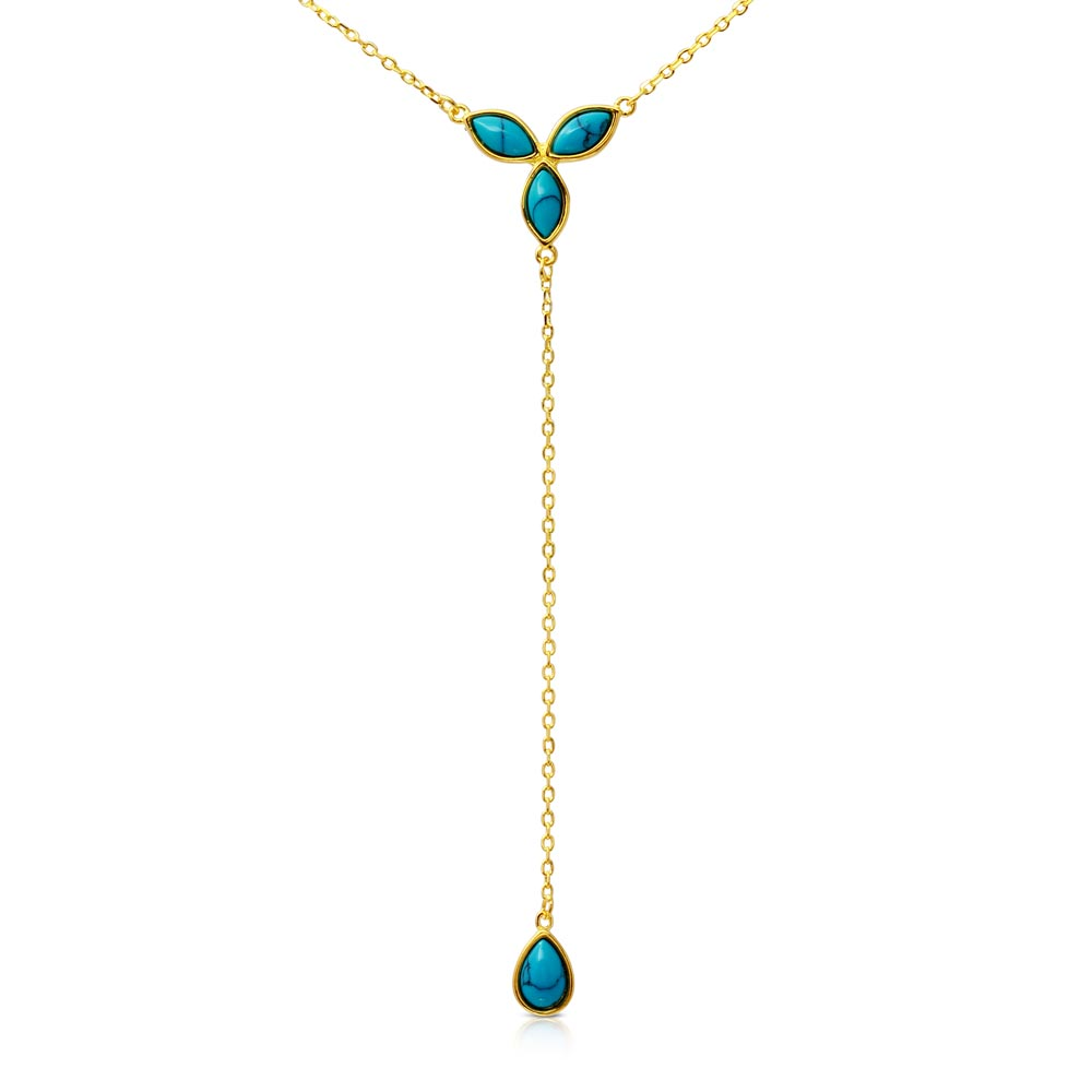 Sterling Silver Hanging Turquoise Pearl Necklace SBGP01171