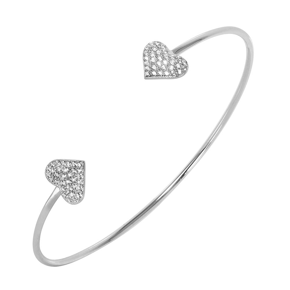 Sterling Silver Heart Cuff Bracelet SBGB00240
