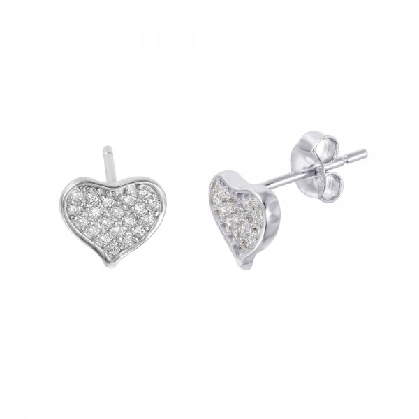 Sterling Silver Pave CZ Heart Stud Earrings SSTE01009