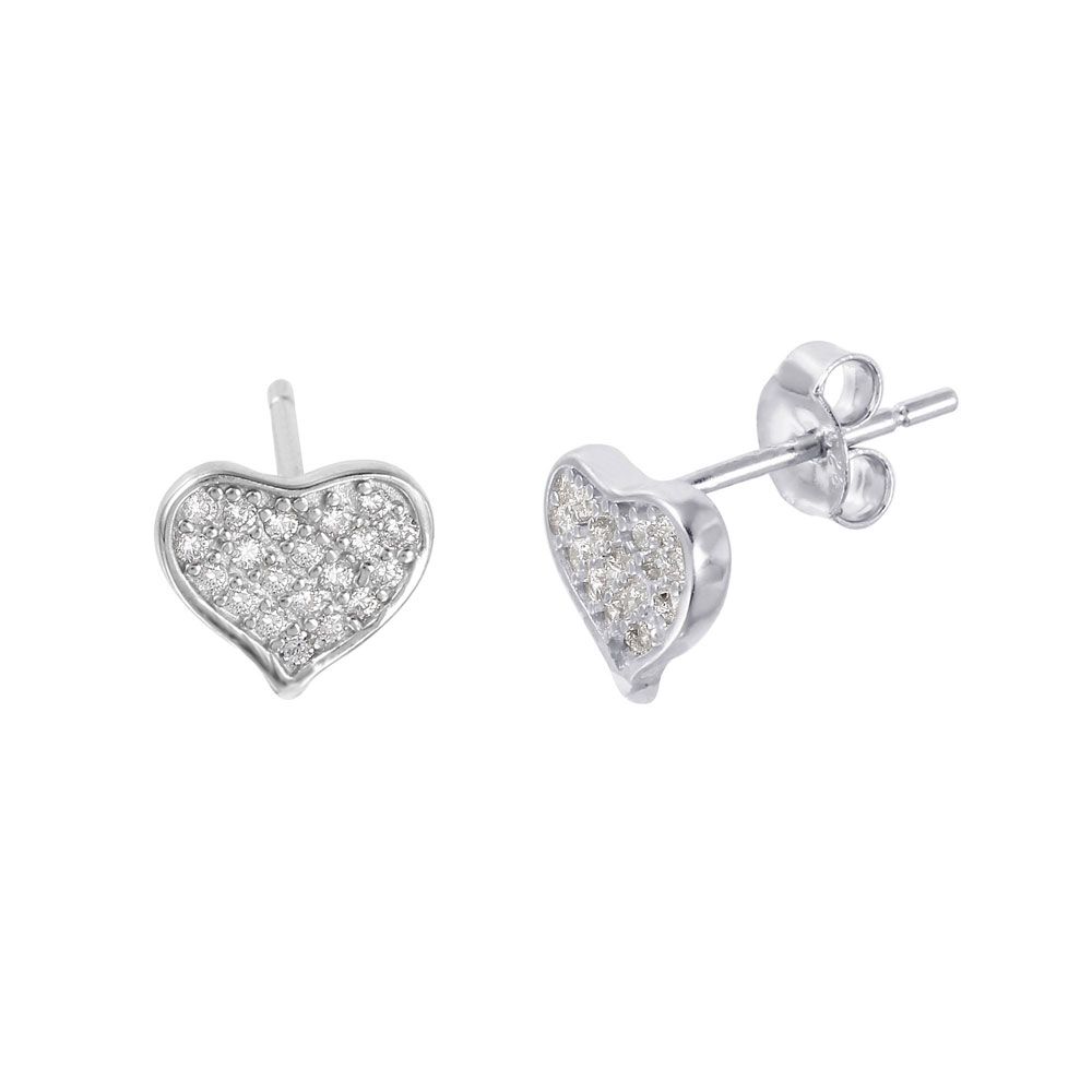Sterling Silver Pave CZ Heart Stud Earrings SSTE01009 ffb7cca2e2db